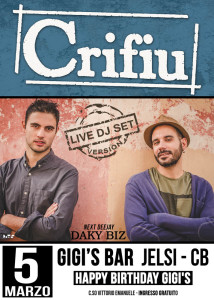 locandina dj set Gigi's bar fb